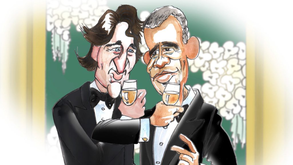 Charicatures of Barack Obama and Justin Trudeau interlock their champagne glasses