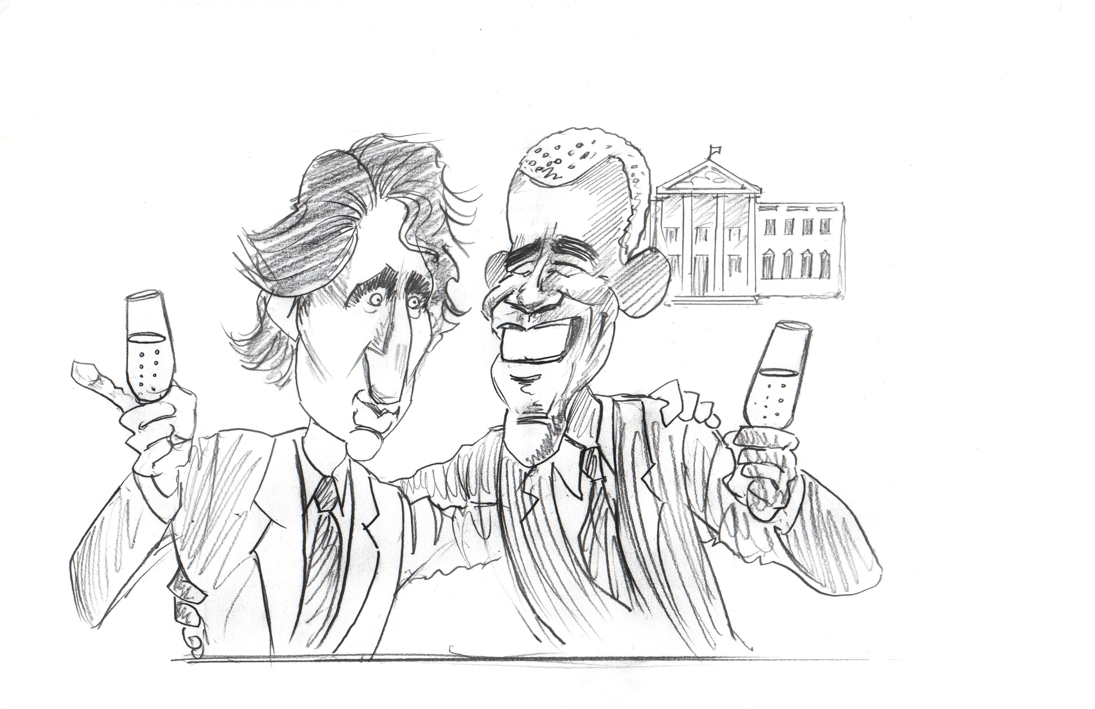 Pencil sketch of Justin Trudeau and Barak Obama drinking champagne